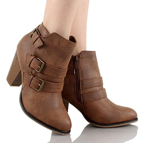 tan booties block heel